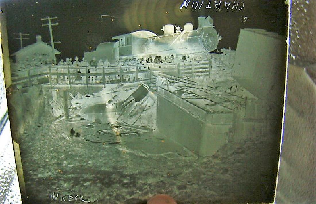 ANTIQUE GLASS SLIDE NEGATIVES OF TRAIN WRECK IN IO - 5