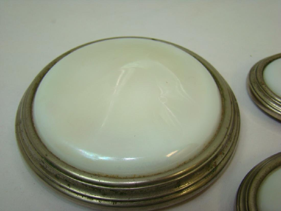 ANTIQUE CAR OPALSCENT WHITE GLASS DOME LIGHT COVER - 2