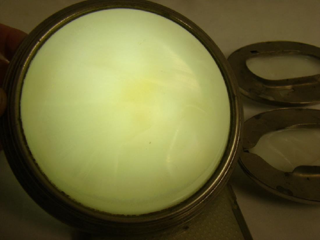 ANTIQUE CAR OPALSCENT WHITE GLASS DOME LIGHT COVER - 6