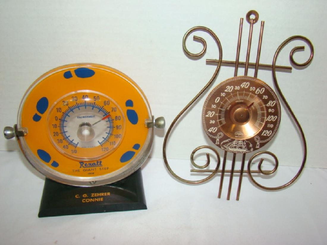 1958 REXALL THERMOMETER  & COOPER WALL THERMOMETER