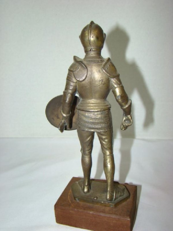SOLID BRASS MEDIEVAL KNIGHT STATUE - 4