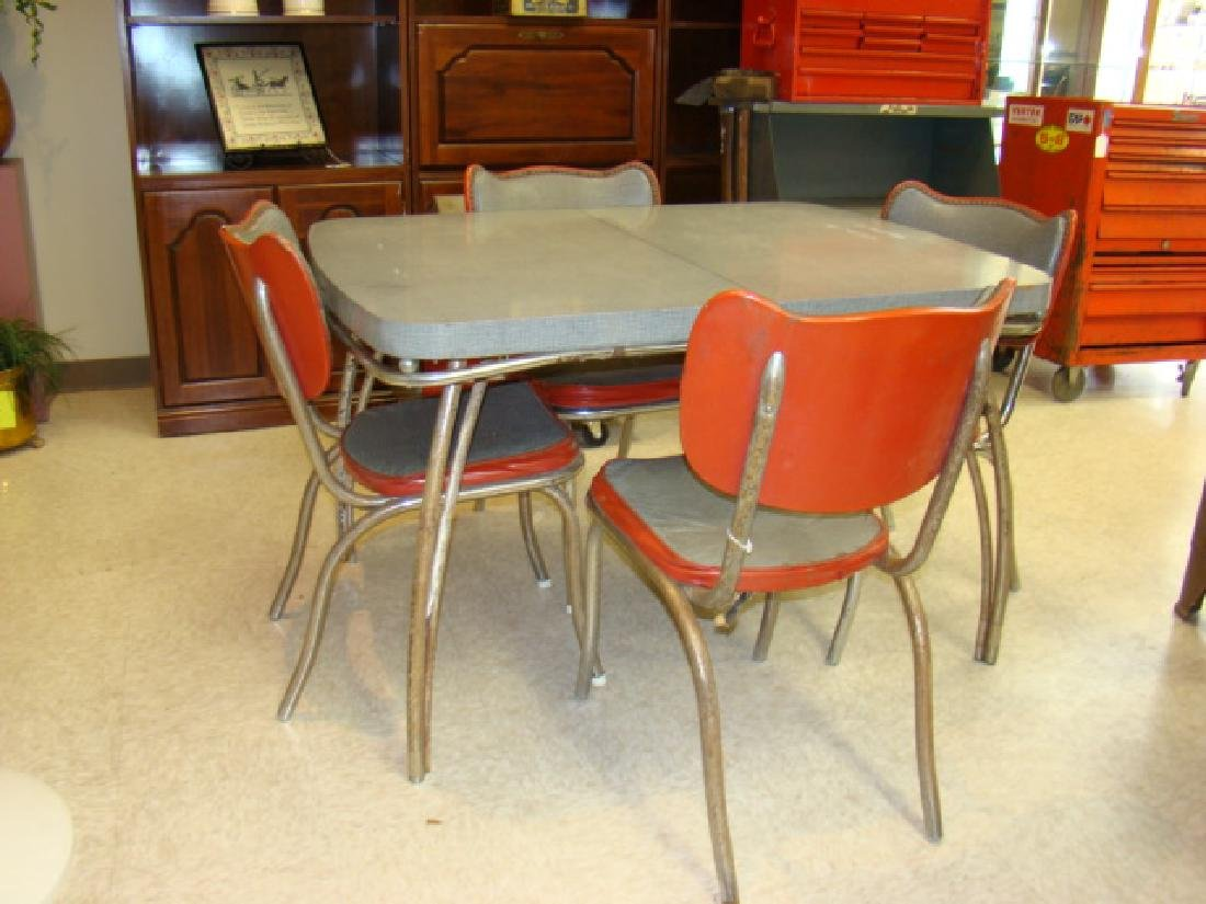 RETRO KUEHNE FORMICA TABLE & 4 CHAIRS