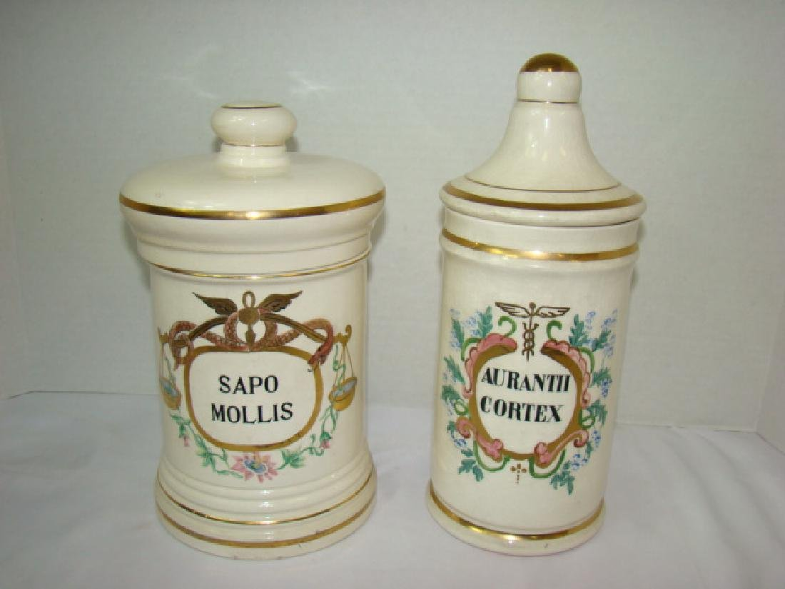 2 PHARMACEUTICAL STYLE CERAMIC JARS WITH LIDS