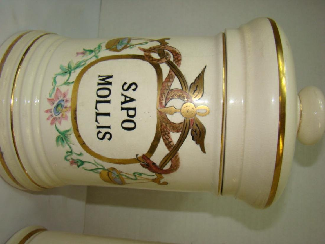 2 PHARMACEUTICAL STYLE CERAMIC JARS WITH LIDS - 3