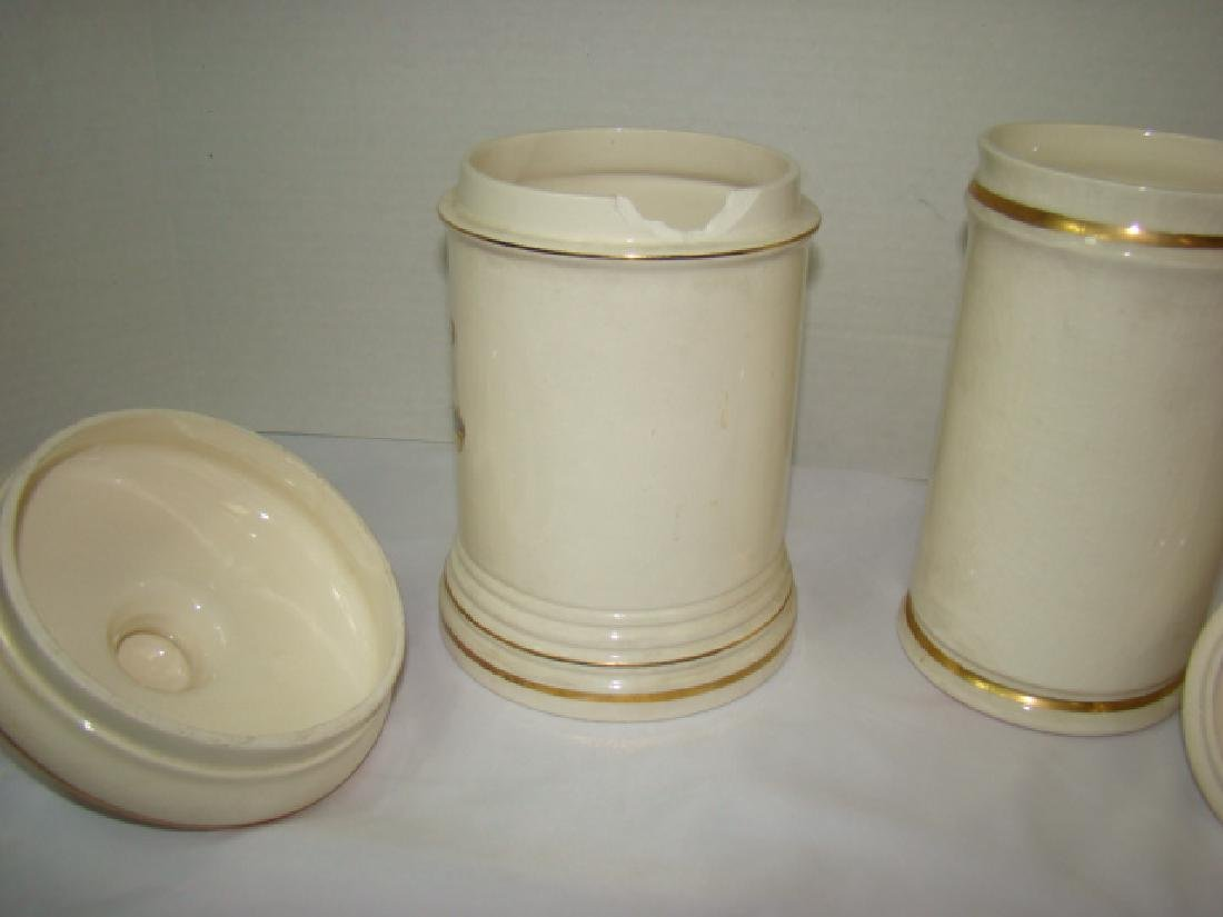 2 PHARMACEUTICAL STYLE CERAMIC JARS WITH LIDS - 4