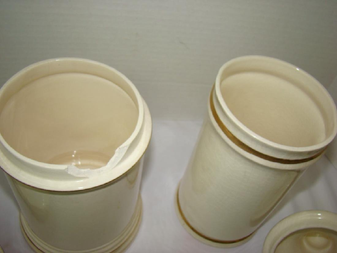 2 PHARMACEUTICAL STYLE CERAMIC JARS WITH LIDS - 5