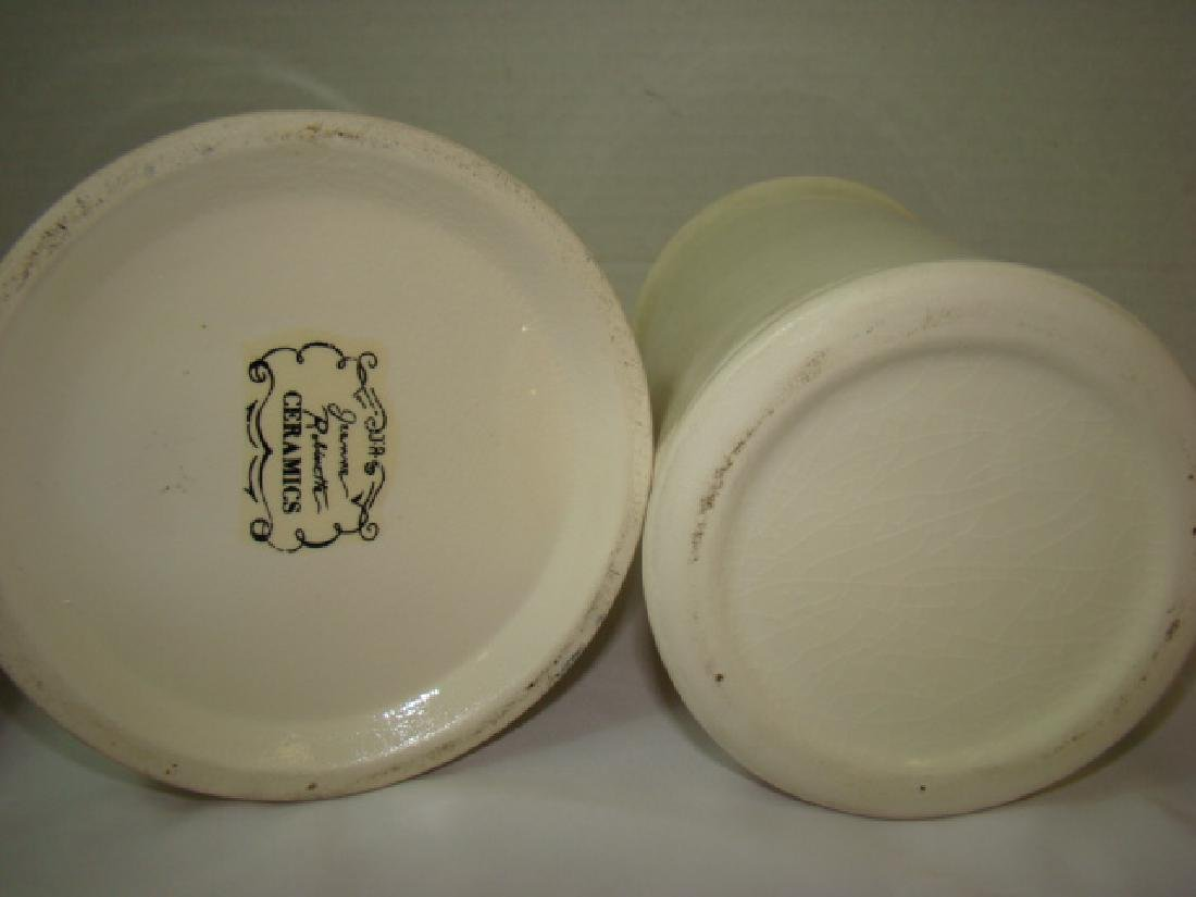 2 PHARMACEUTICAL STYLE CERAMIC JARS WITH LIDS - 6