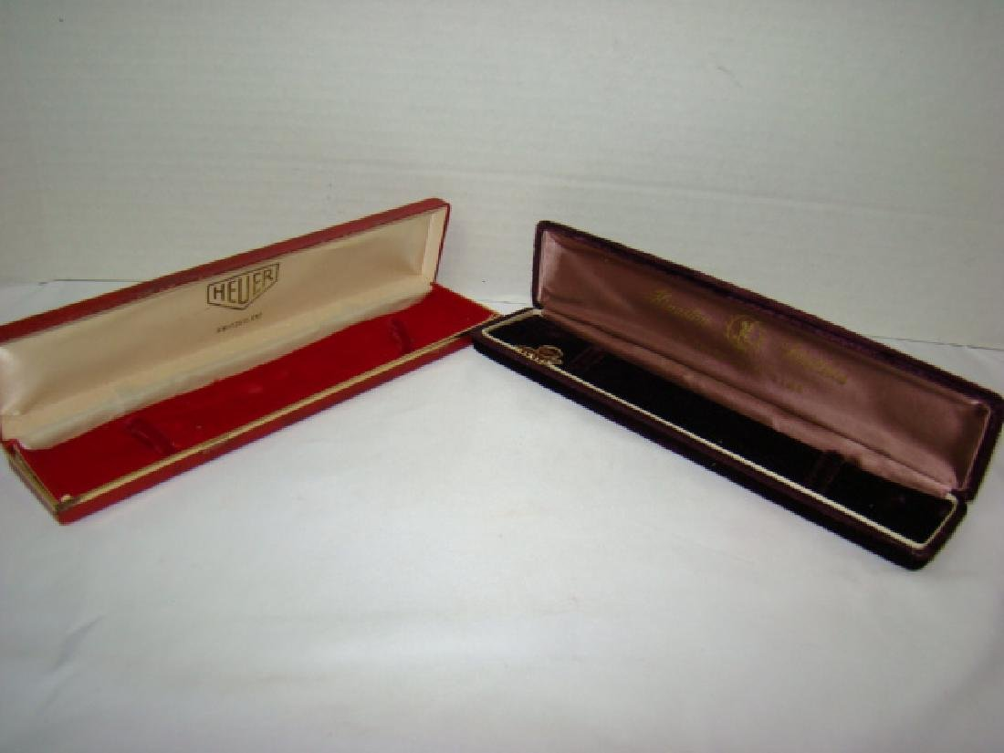 2 VINTAGE WATCH BOXES-KINGSTON & HEUER