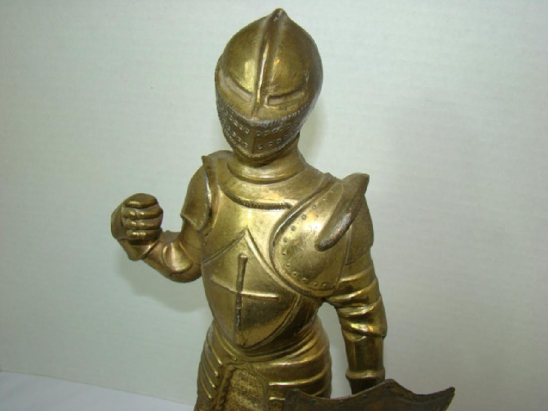 SOLID BRASS MEDIEVAL KNIGHT STATUE - 2