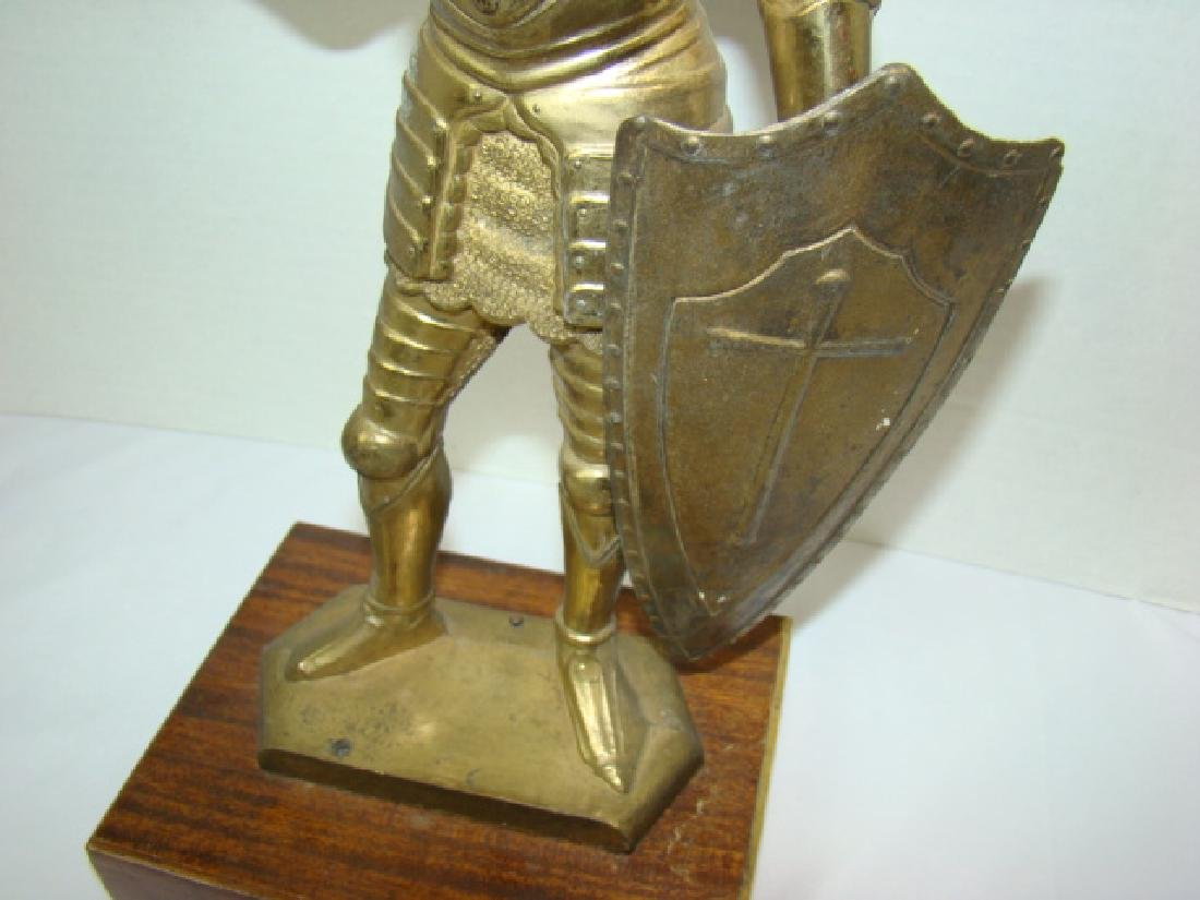 SOLID BRASS MEDIEVAL KNIGHT STATUE - 3