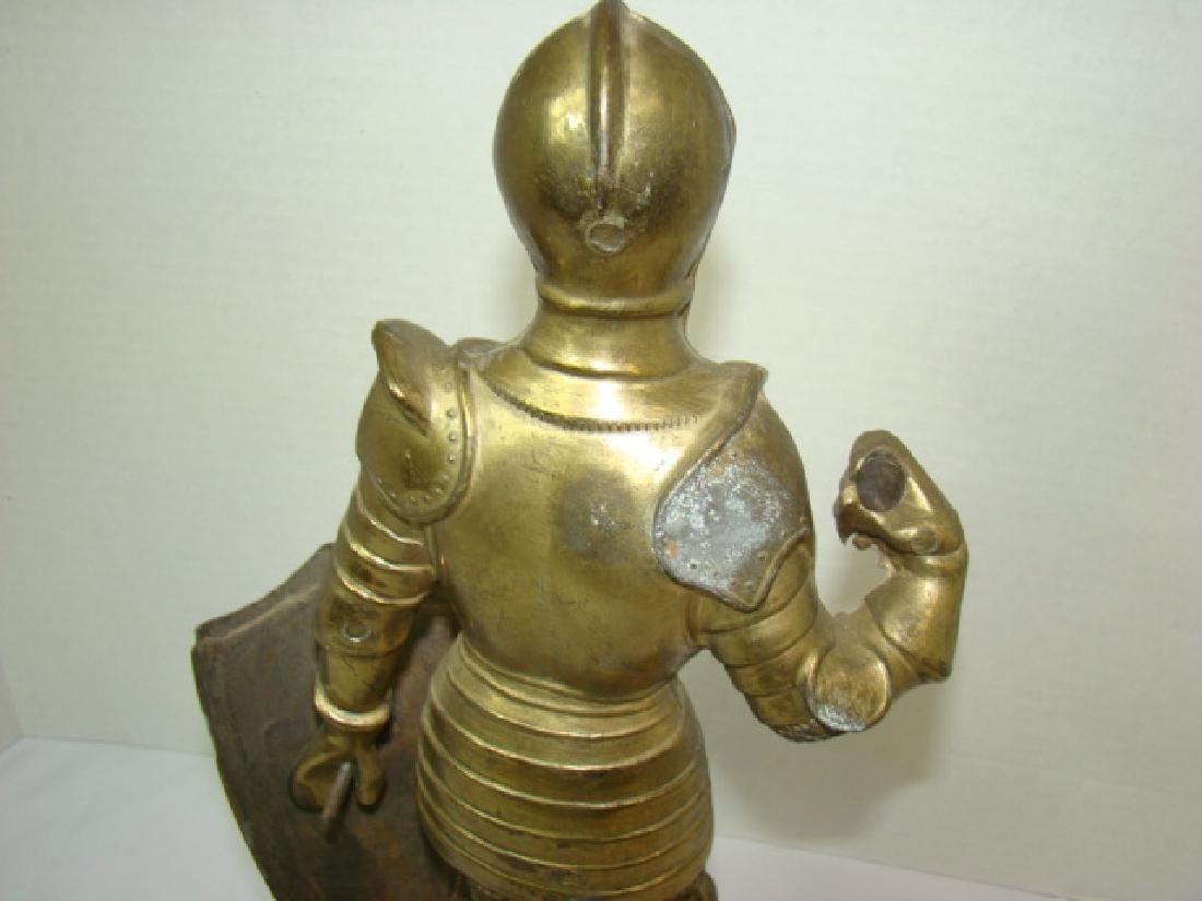 SOLID BRASS MEDIEVAL KNIGHT STATUE - 6