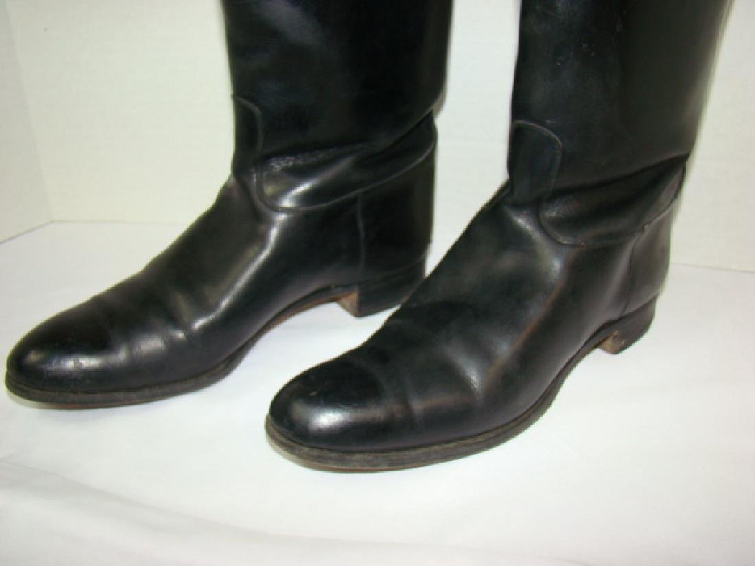 VINTAGE BLACK LEATHER LADIES RIDING BOOTS - 2