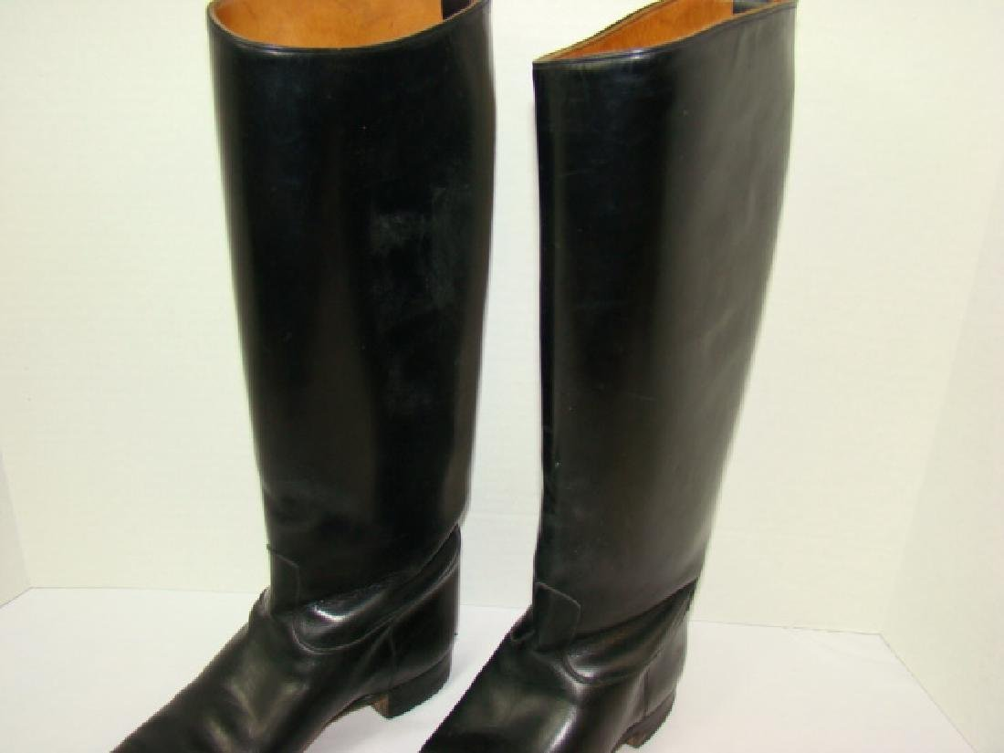 VINTAGE BLACK LEATHER LADIES RIDING BOOTS - 3