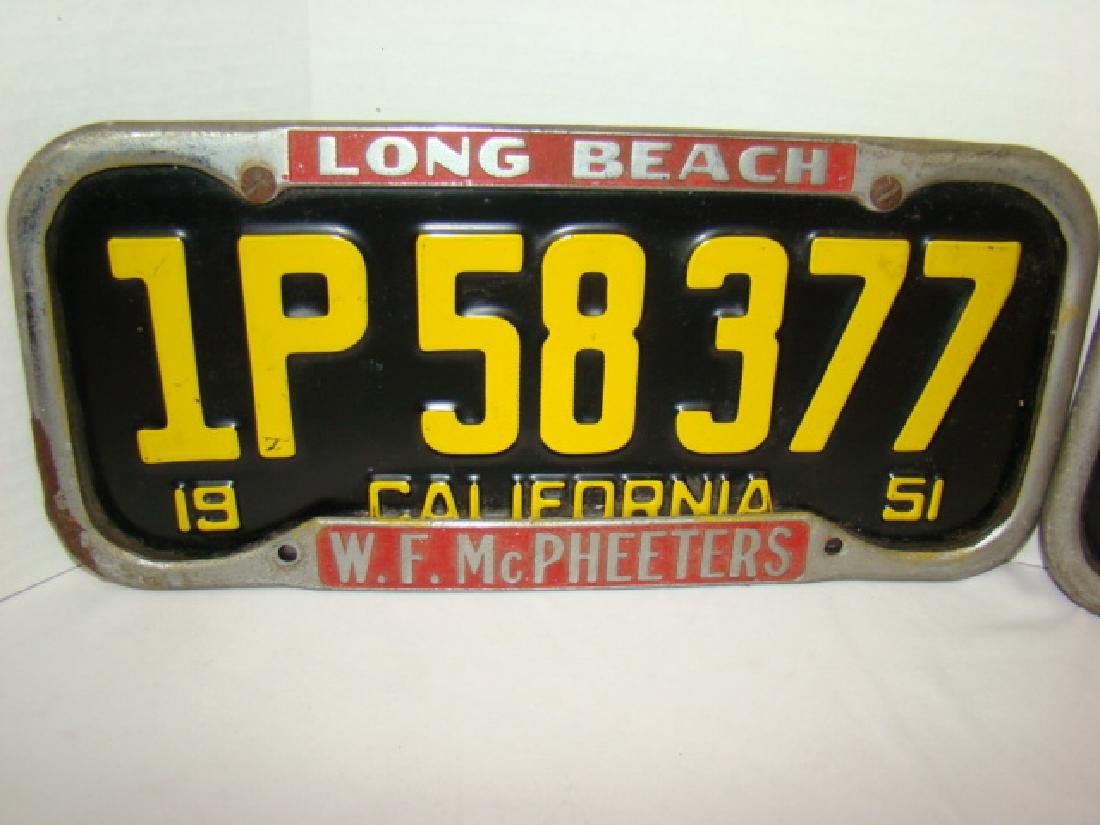 RARE 1951 CALIFORNIA LICENSE PLATES WITH LONG BEAC - 2