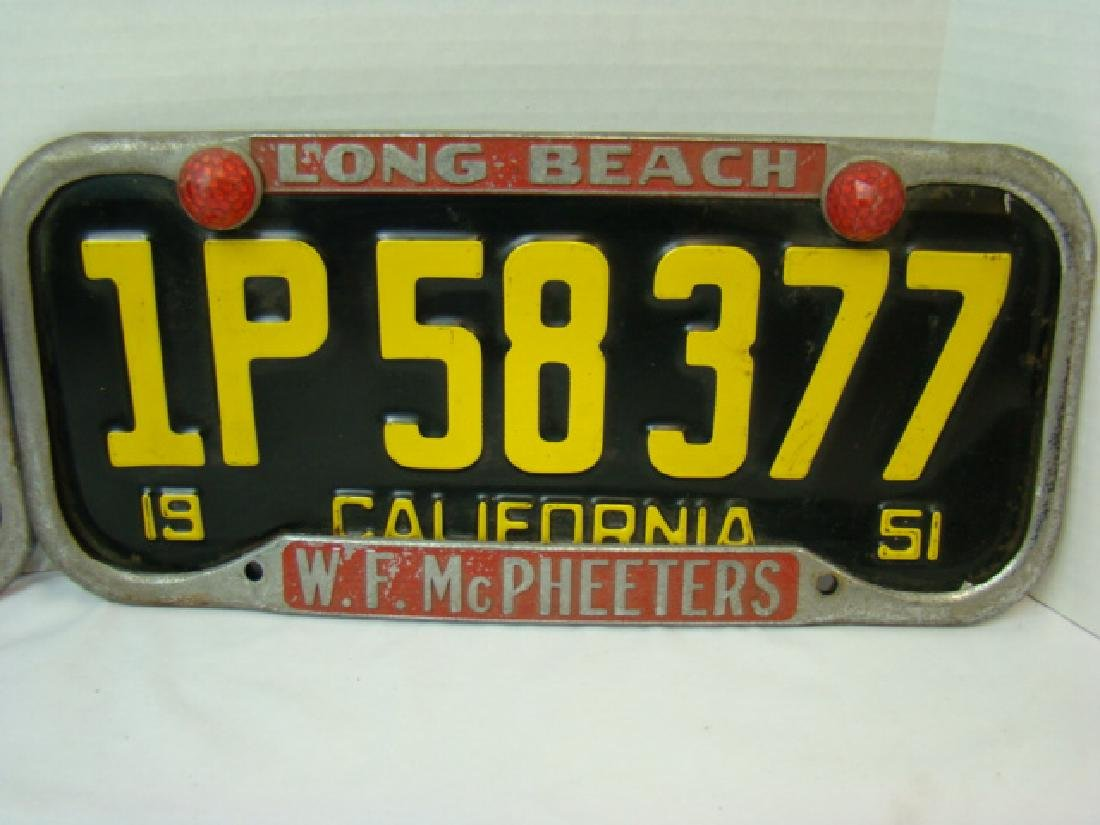 RARE 1951 CALIFORNIA LICENSE PLATES WITH LONG BEAC - 5