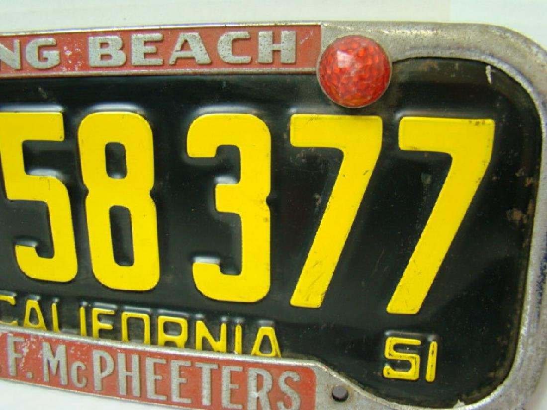 RARE 1951 CALIFORNIA LICENSE PLATES WITH LONG BEAC - 6