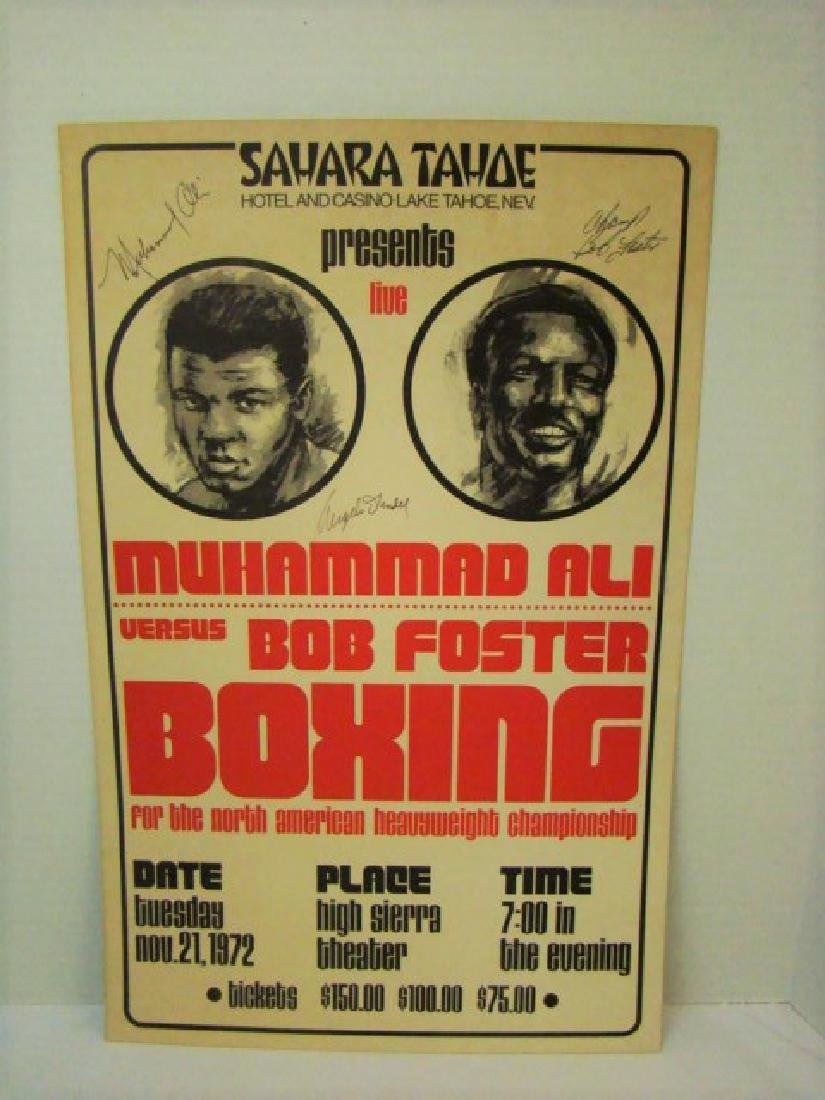 AUTOGRAPHED RARE 1972 MUHAMMAD ALI FIGHT POSTER
