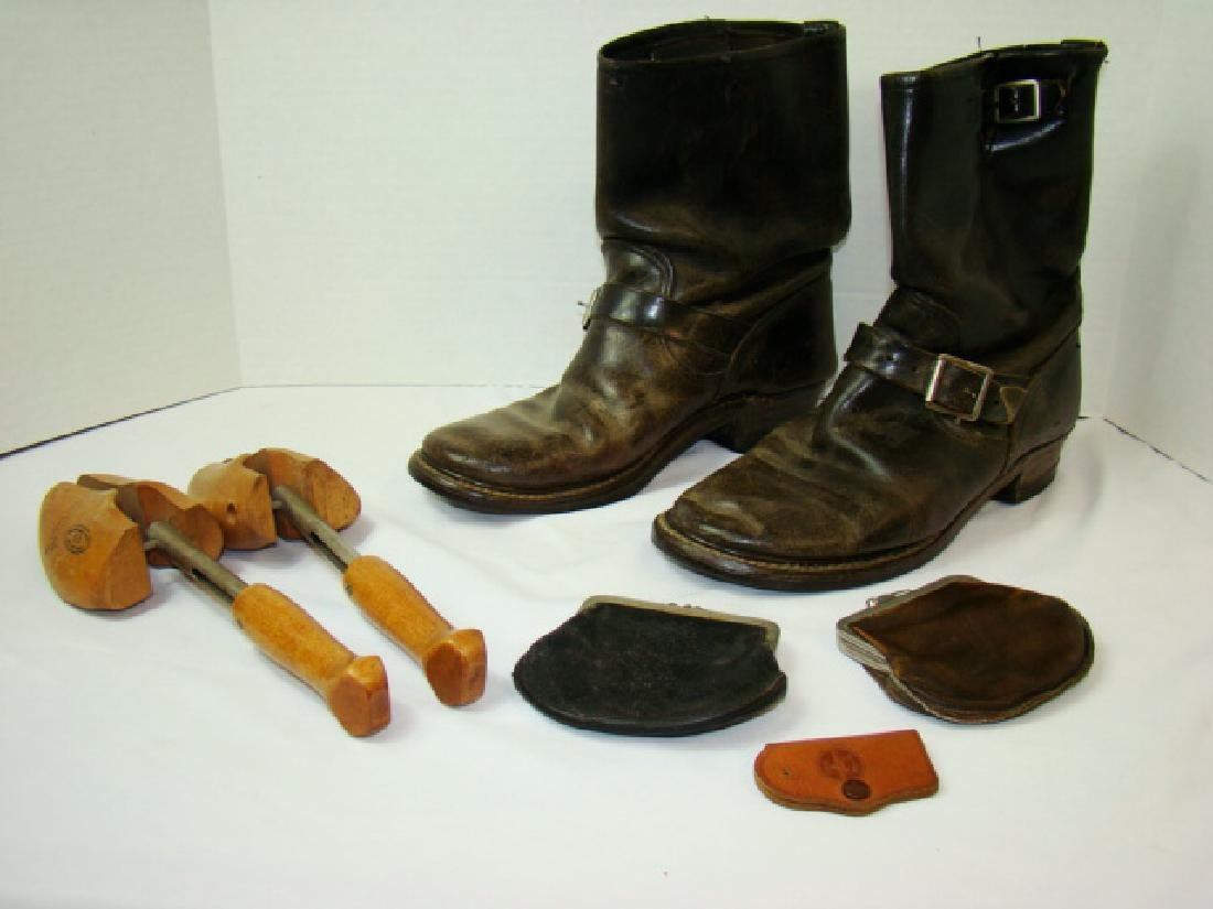 VINTAGE MOTORCYCLE BOOTS & COWHIDE COIN PURSES