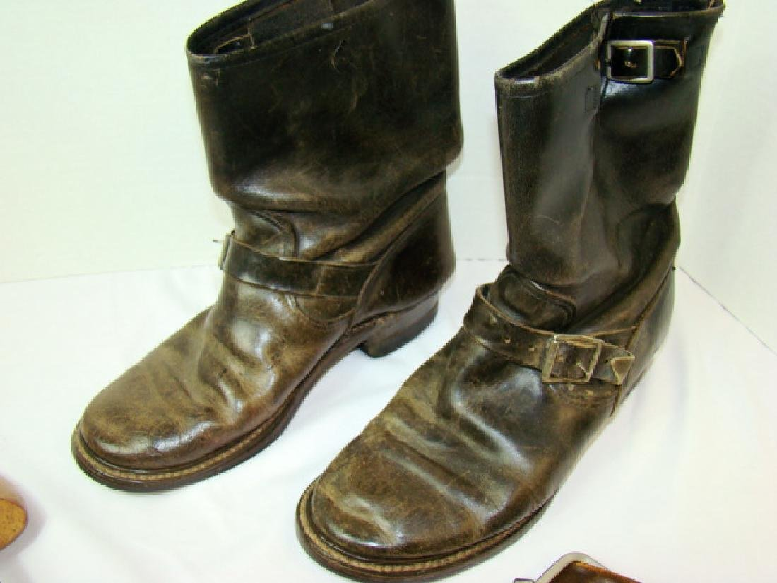 VINTAGE MOTORCYCLE BOOTS & COWHIDE COIN PURSES - 3