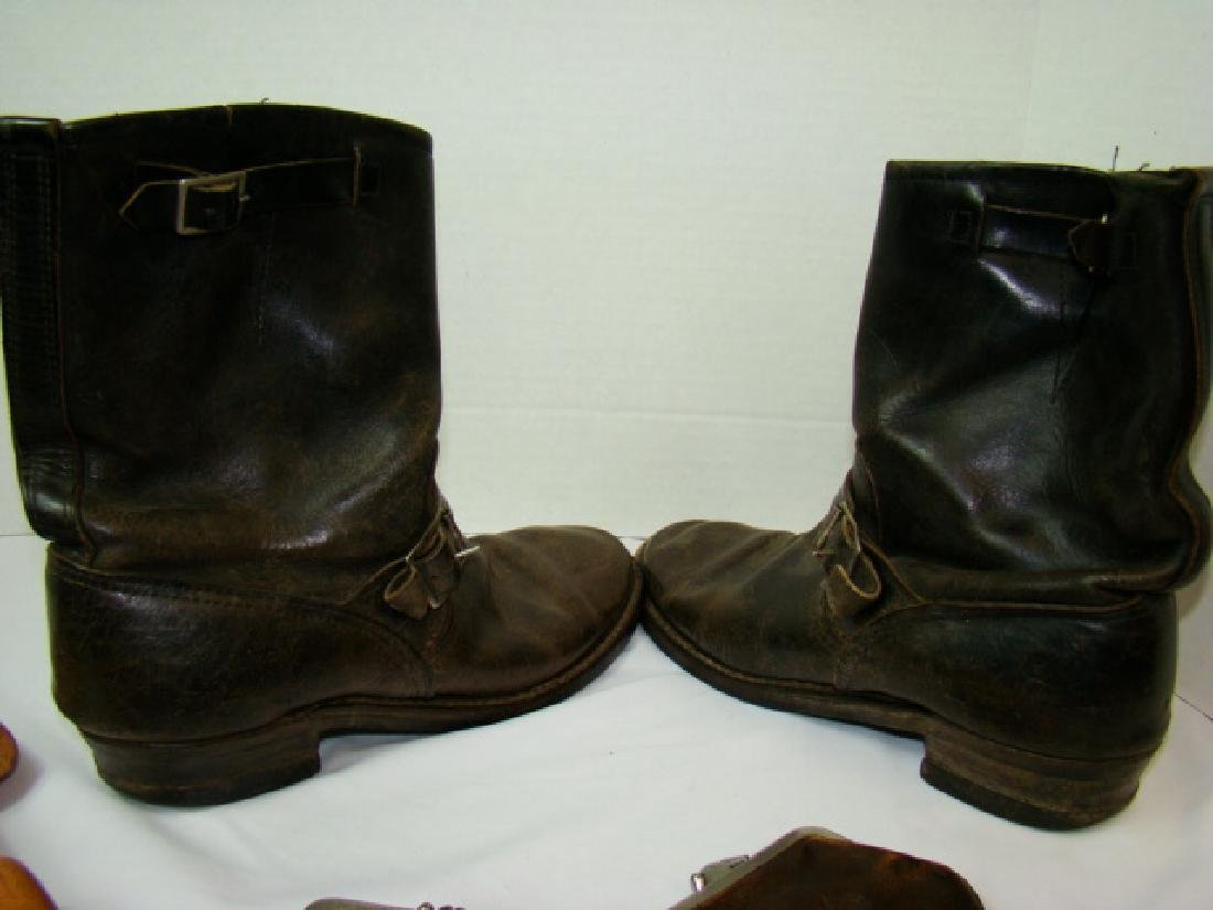 VINTAGE MOTORCYCLE BOOTS & COWHIDE COIN PURSES - 4