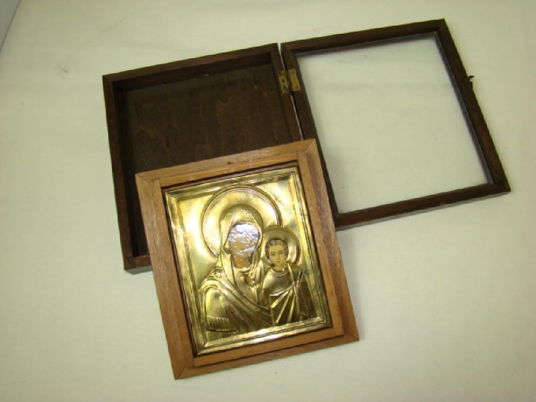 RELIGIOUS PLAQUE -RUSSIAN ICON IN CASE - 3