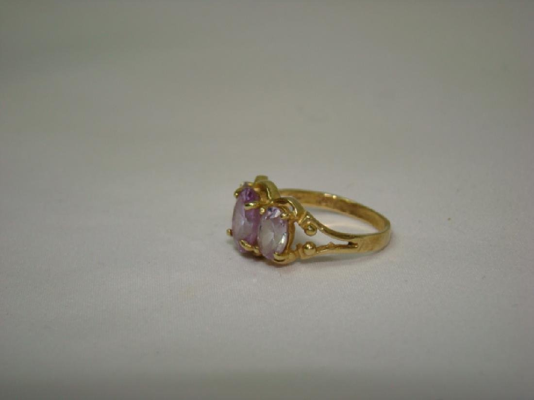 10K GOLD LADIES RING WITH LARGE STONES - 2