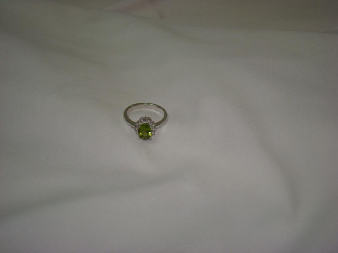925 CENTER GREEN STONE LADIES RING - 2