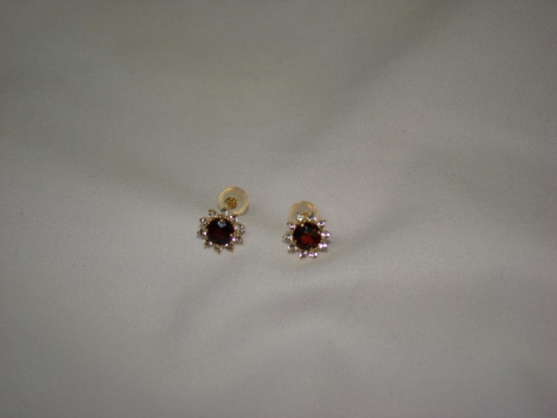 10 K GOLD EARRINGS WITH RUBY COLOR STONES - 2