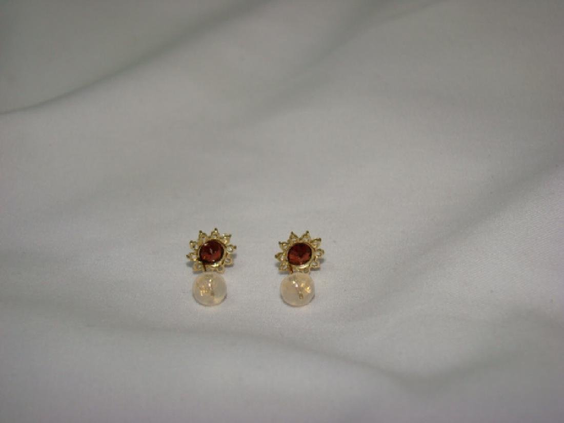 10 K GOLD EARRINGS WITH RUBY COLOR STONES - 3