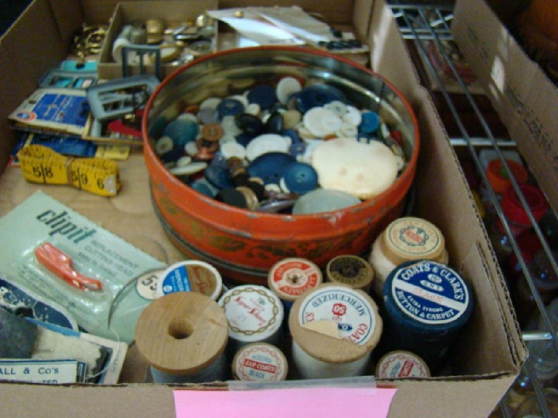 SEWING NOTIONS-VINTAGE BUTTONS AND MORE