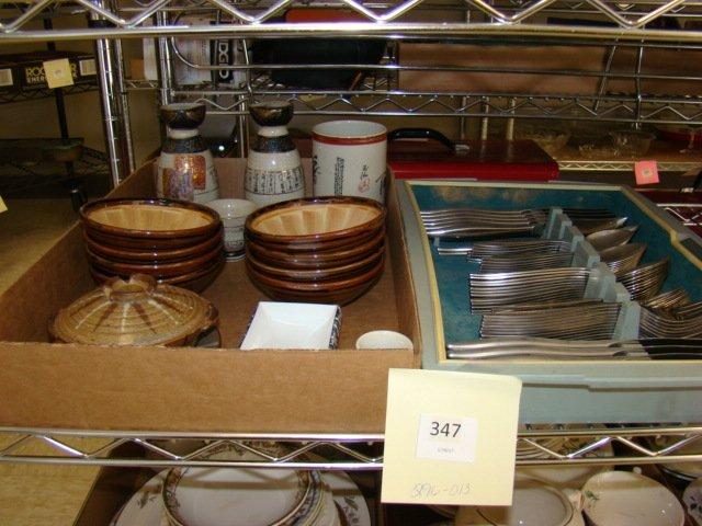 ONEIDA CRAFT STAINLESS FLATWARE & SAKE DISHES