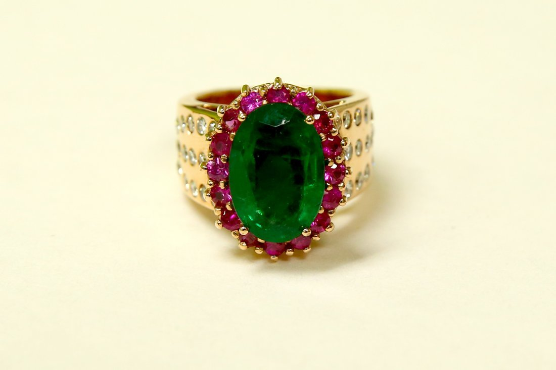 18K Rose Gold; Emerald, Ruby and Diamond Ring (GIA)