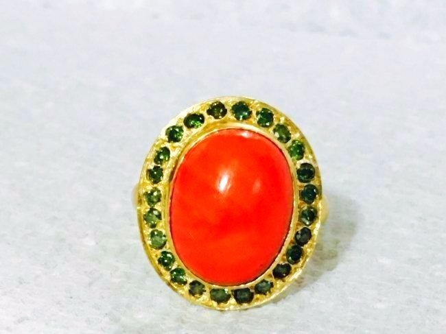 21k yellow gold DIAMOND AND CORAL Ring