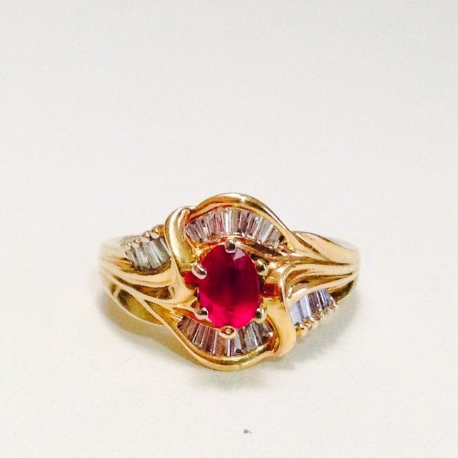 14k Yellow gold JBR Hallmark DIAMOND AND RUBY RING