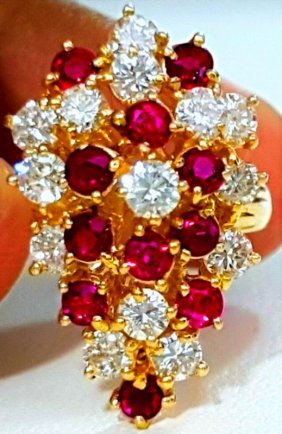 14k Yellow Gold Diamond And Burma Ruby Cocktail Ring