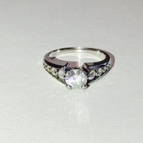 1.30ct Diamond and 14k White Gold ENGAGEMENT RING