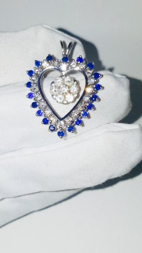 14k White Gold Heart Shape Sapphire And Diamond Pendant