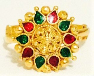 22K Yellow Gold Indian Style Ring, Emerald and Ruby.