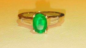 1.50 Carat Emerald and VVS Diamond Ring