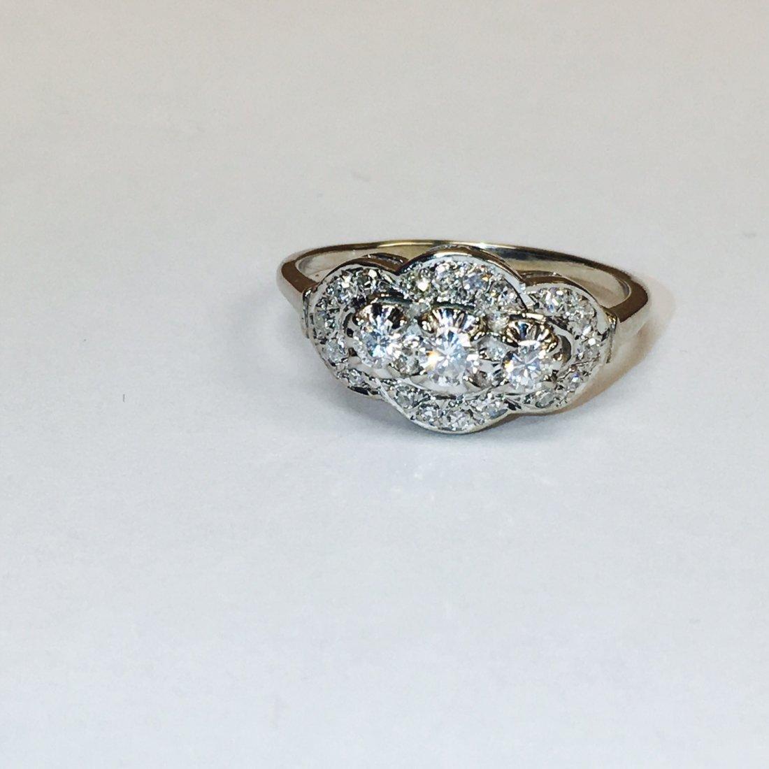 14K White Gold, Antique 1.00 Carat Diamond Ring