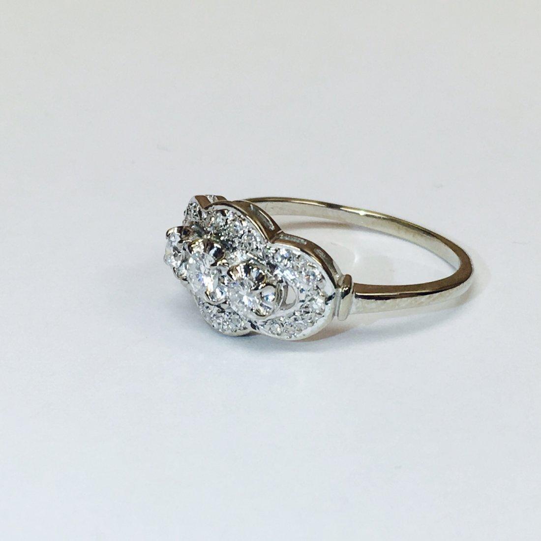 14K White Gold, Antique 1.00 Carat Diamond Ring - 2
