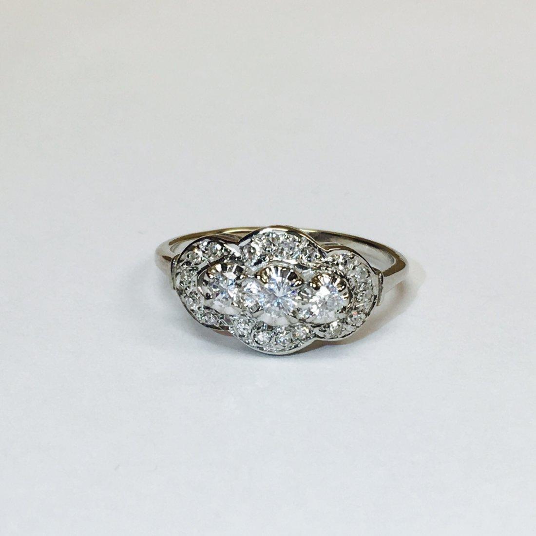 14K White Gold, Antique 1.00 Carat Diamond Ring - 4