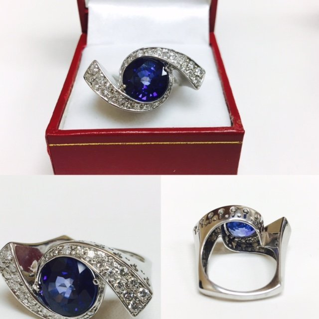 6.00 Carat Blue Sapphire & DIAMOND EVIL EYE STYLE RING