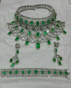 18K White Gold, 214.47 Carat Emerald and Diamond Set