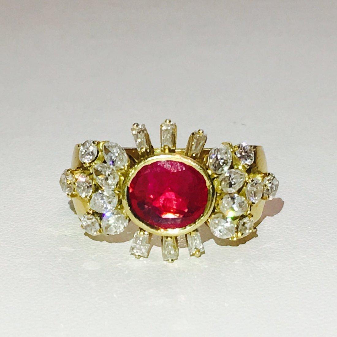 VINTAGE 4 CT NO HEAT Burma Ruby & VVS DIAMONDS (GIA)