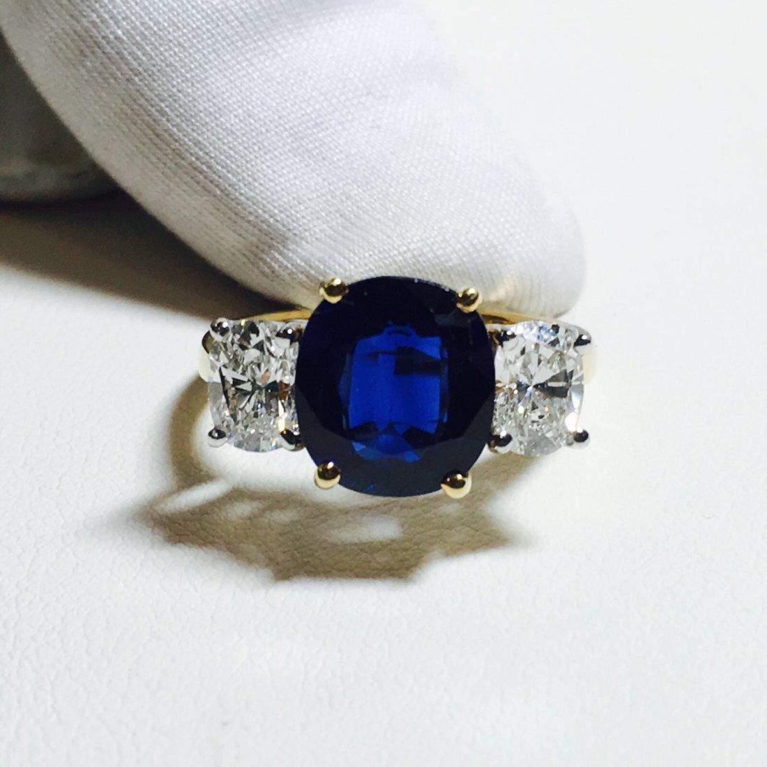 18K Gold, 4.05 Carat Blue Sapphire and Diamond Ring