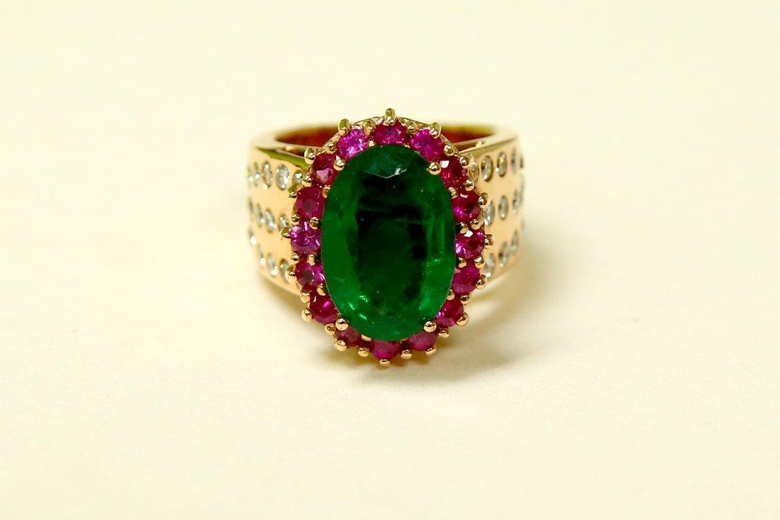 18K Rose Gold Diamond Emerald Ruby & Diamond Ring (AGI)