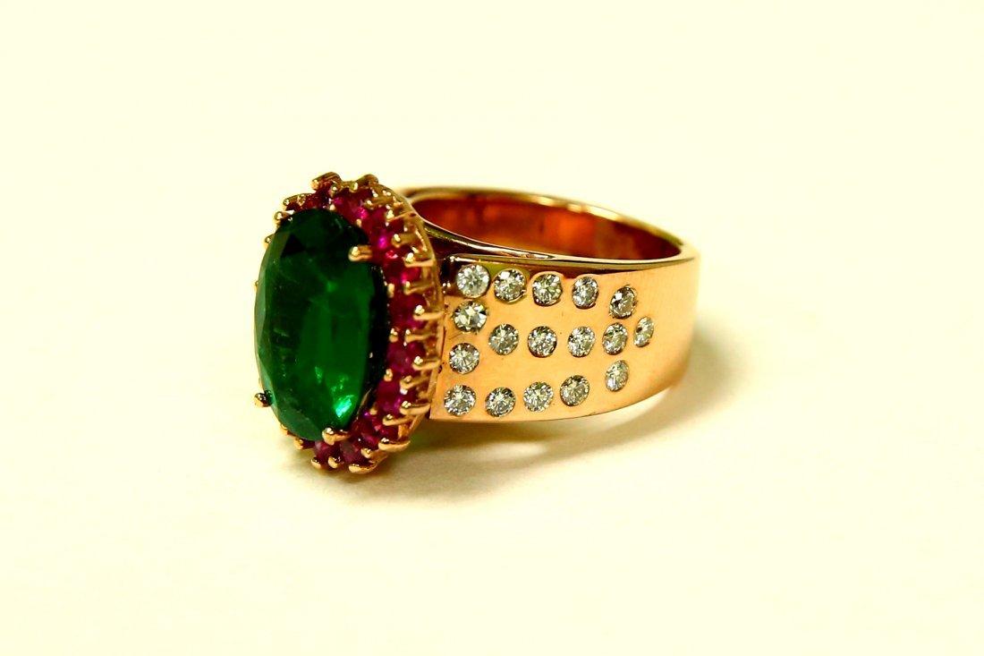 18K Rose Gold Diamond Emerald Ruby & Diamond Ring (AGI) - 3