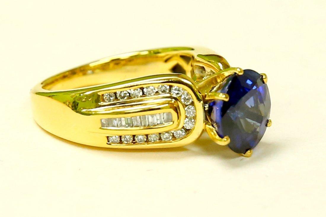 14K 100% natural 7 carat Blue Sapphire & diamond ring - 2