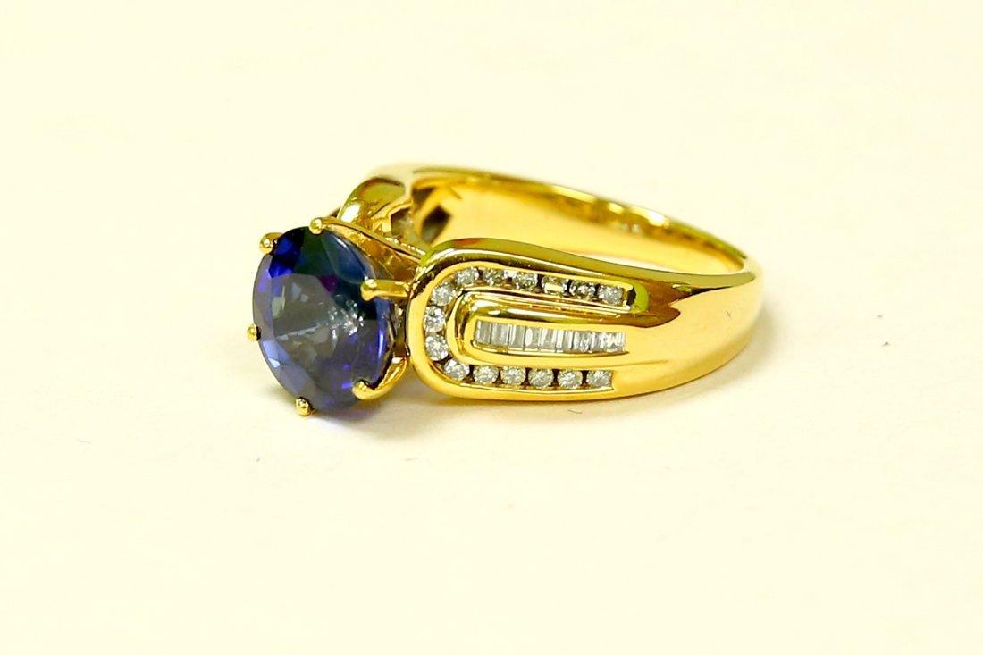 14K 100% natural 7 carat Blue Sapphire & diamond ring - 3